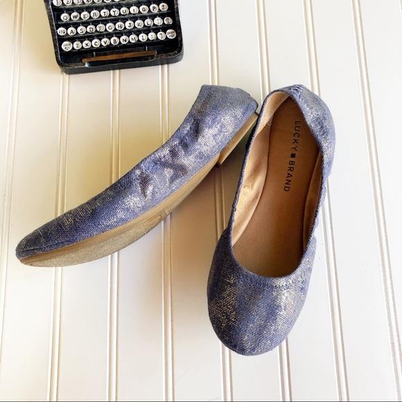 Lucky Brand Shoes - Lucky Brand Ballet Flat Emmie Blue Denim Metallic